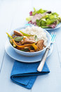 Asian chicken fresh with vegetables and rice close up shoot Stock Photography