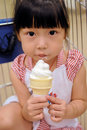Asian child eating Ice cream Royalty Free Stock Photography