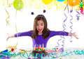 Asian child kid girl in birthday party Royalty Free Stock Photo