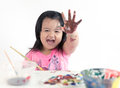 Asian child painting Royalty Free Stock Photo