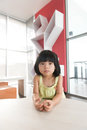 Asian child portrait of little girl indoor Royalty Free Stock Image