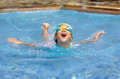 Asian child practice swimming Royalty Free Stock Photo