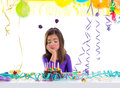 Asian child sad bored kid girl in birthday party Royalty Free Stock Photo