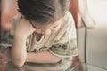 Asian child thinking Royalty Free Stock Photo