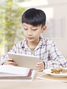 Asian child using tablet computer Royalty Free Stock Photo