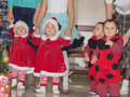 Asian children baby girls twins together at celebration christmas group of Royalty Free Stock Images