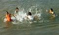 Asian children bath on Vietnamese river Royalty Free Stock Photo