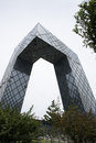 Asian chinese beijing cctv headquarters the two towers of bidirectional inner tilted degrees in meters from the l shaped Stock Image