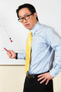 Asian chinese business manager or employee presenting negative economic forecast or statistic or graph on a office whiteboard Stock Images