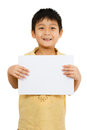 Asian Chinese Children Holding blank white board. Royalty Free Stock Photo