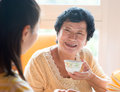 Asian Chinese family having breakfast Royalty Free Stock Photo