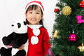 Asian Chinese little girl holding panda doll posing with Christm Royalty Free Stock Photo