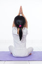 Asian Chinese little girl practicing yoga pose Royalty Free Stock Photo