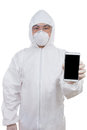 Asian Chinese scientist in protective wear showing mobile phone