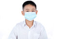 Asian Chinese Student Boy In Uniform Wearing Mask Royalty Free Stock Photo