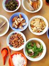 Asian chinese style street food dishes a photograph showing an assortment of many different of simple and delicious ethnic cooking Royalty Free Stock Photo