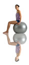 Asian chinese woman sitting on gym ball posing with useful for showing healthy lifestyle Stock Images