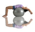 Asian chinese woman stretching on gym ball posing with useful for showing healthy lifestyle Stock Image