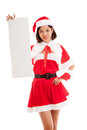 Asian Christmas Santa Claus girl with blank sign Royalty Free Stock Photo
