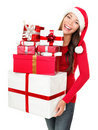 Asian christmas santa woman shopping gifts Stock Image