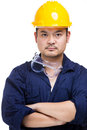 Asian construction worker portrait isolated on white Stock Photos
