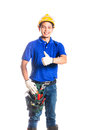 Asian construction worker with tools indonesian builder or helmet and tool belt Stock Images