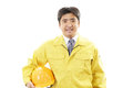 Asian construction worker an on white back ground Royalty Free Stock Photography