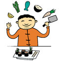 Asian cook or chef in restaurant cartoon vector illustration of chinese japanese cooking food making sushi with vegetable and fish Stock Images