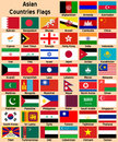 Asian Countries Flags Stock Photography