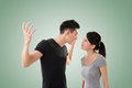 Asian couple argue closeup portrait with two people Royalty Free Stock Photography