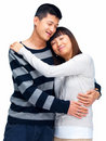 Asian couple each embracing happy other young Royaltyfri Fotografi