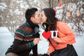 Asian couple in love on snow background Royalty Free Stock Image
