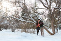Asian couple in love on snow background Stock Image