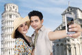 Asian couple travel and take picture at rome is taking a italy Royalty Free Stock Images