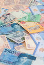 Asian currencies close up of india indonesia and malaysia Stock Image