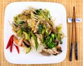 Asian dish with glass noodles rice meat prawn and vegetables top view Royalty Free Stock Photos