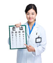 Asian doctor with eye chart Royalty Free Stock Photo