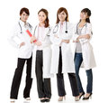 Asian doctor team group of people about healthy and medical concepts isolated on white background Royalty Free Stock Photography