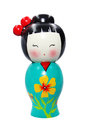 Asian doll wooden statue isolated Royalty Free Stock Photo