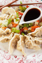 Asian dumplings with vegetable and soy sauce dim sum cooked Royalty Free Stock Photography