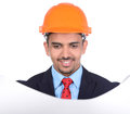 Asian engineer constructions happy young architect read a drawing on white background Royalty Free Stock Image