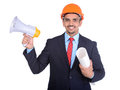 Asian engineer constructions happy young architect screaming in megaphone against a white background and clipping path Royalty Free Stock Image