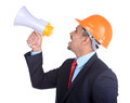 Asian engineer constructions happy young architect screaming in megaphone against a white background and clipping path Stock Photography