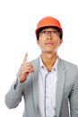 Asian engineer man point up isolated on white background Royalty Free Stock Photo