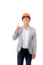 Asian engineer man point up and smile isolated on white background Royalty Free Stock Image