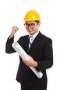 Asian engineer man with success look at blueprints Royalty Free Stock Photo