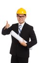 Asian engineer man thumbs up with blueprints