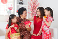 Asian family celebrate chinese new year at home happy multi generations Royalty Free Stock Image