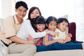 Asian family indoor portrait of Royalty Free Stock Images