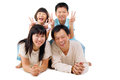 Asian family lovely lying on the floor Royalty Free Stock Photography